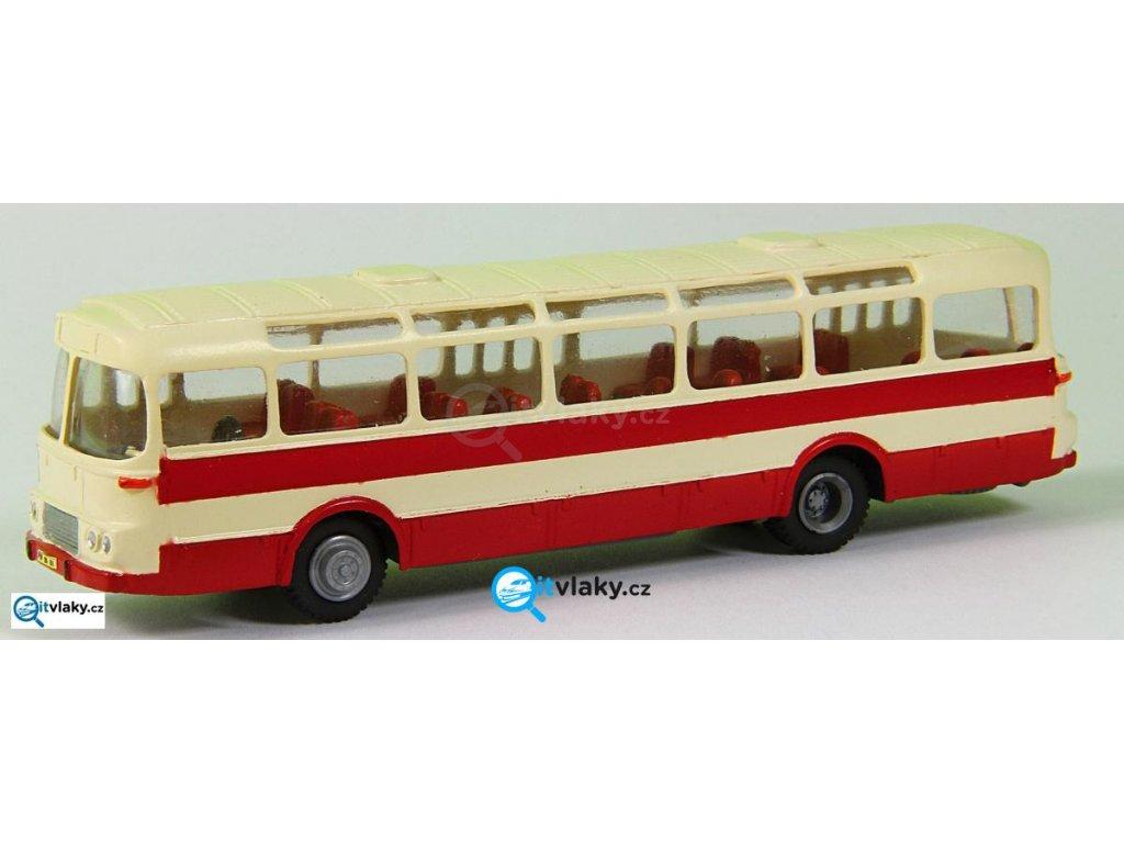 H0 - autobus Karosa ŠM 11 červený, bílý pruh, 3x2-dílné dveře
