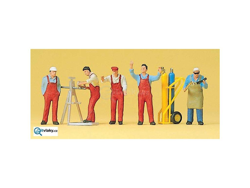 H0 - Řemeslníci a příslušenství, 5 figurek / Preiser 10243