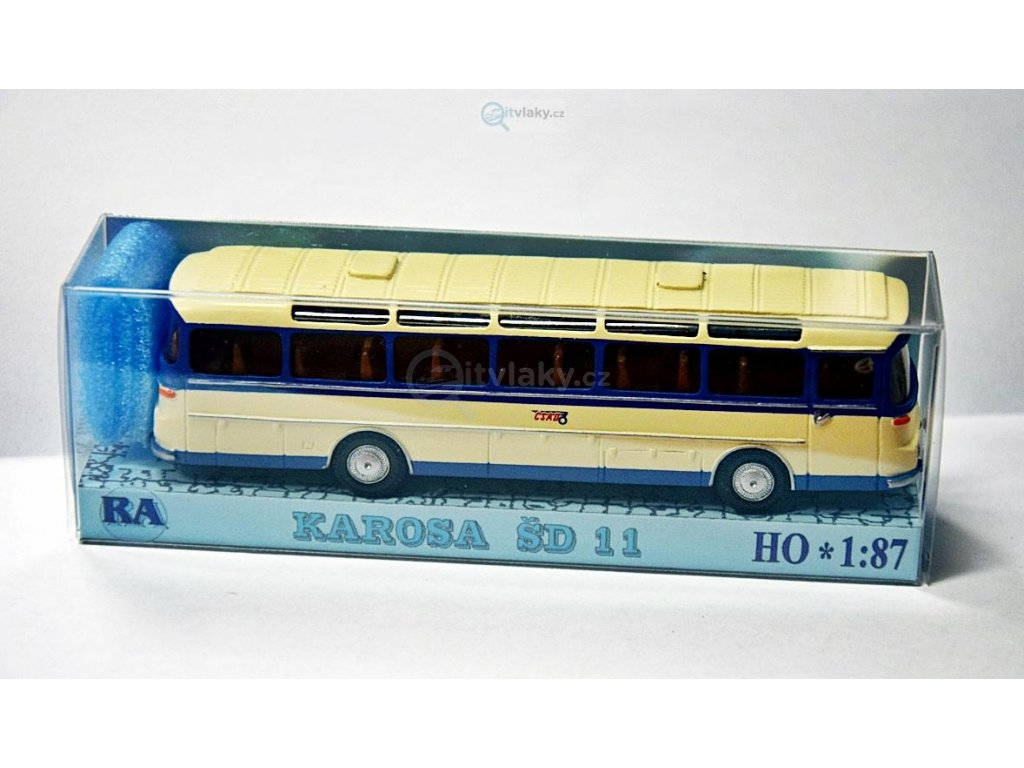 H0 - Karosa ŠD 11, bílá/modrá, pruh / Došlý 102500