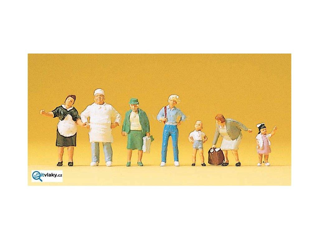 H0 - Pekaři a zákazníci, 7 figurek / Preiser 10275
