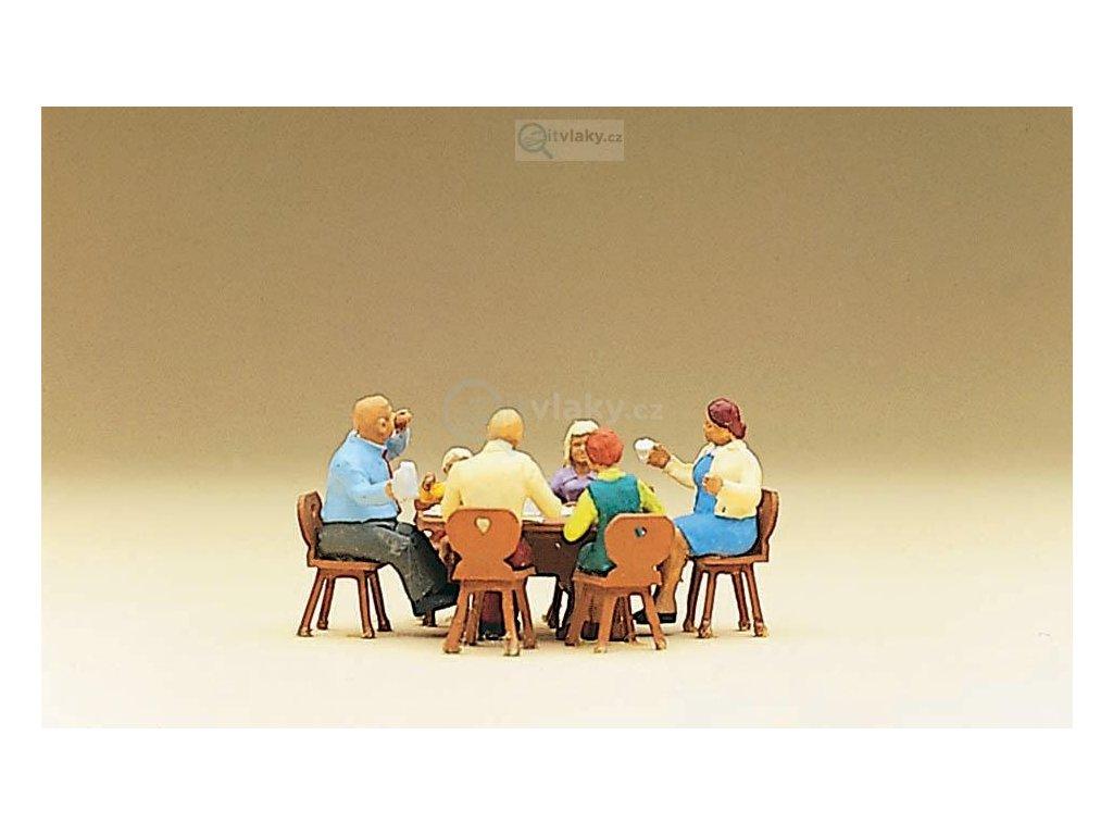 H0 - Rodina u stolu, 6 figurek / Preiser 10282