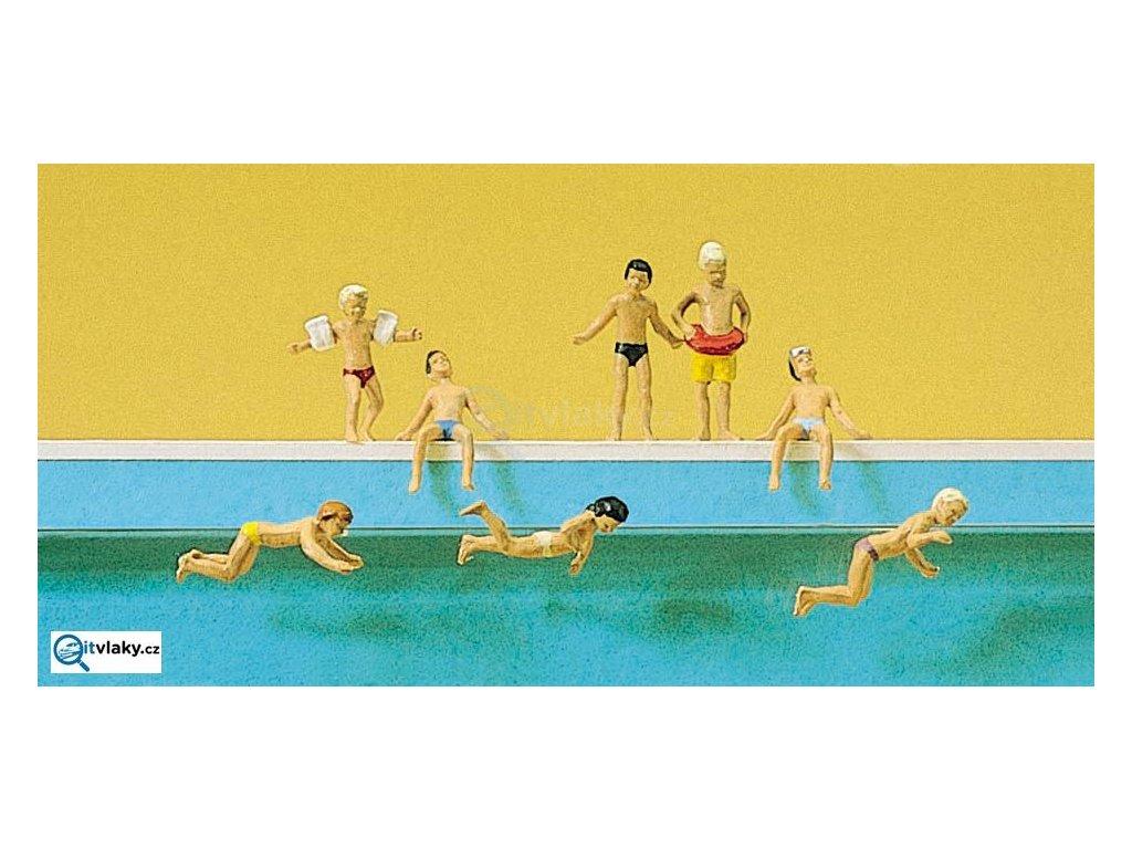 H0 - Děti v bazénu, 8 figurek / Preiser 10307