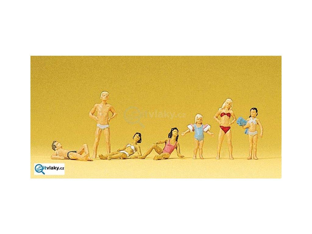 H0 - Děti a mladiství na koupališti, 7 figurek / Preiser 10308