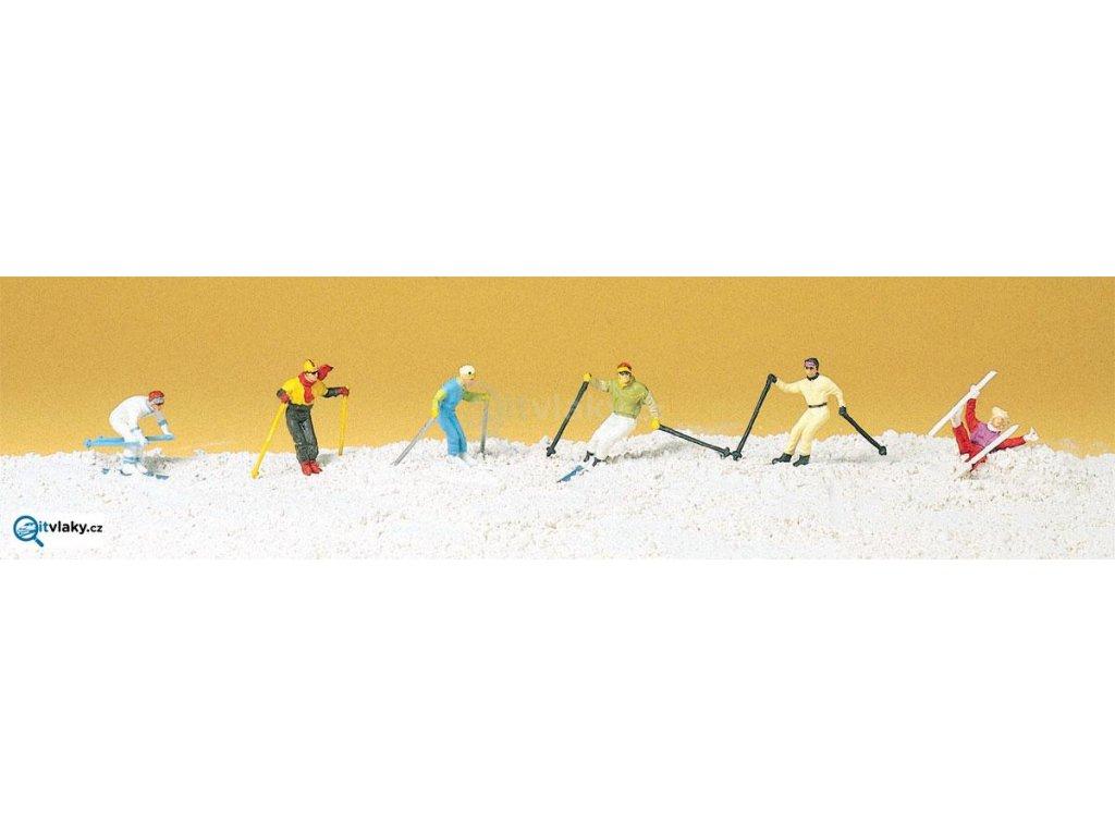 H0 - Sjezdoví lyžaři, 6 figurek / Preiser 10313