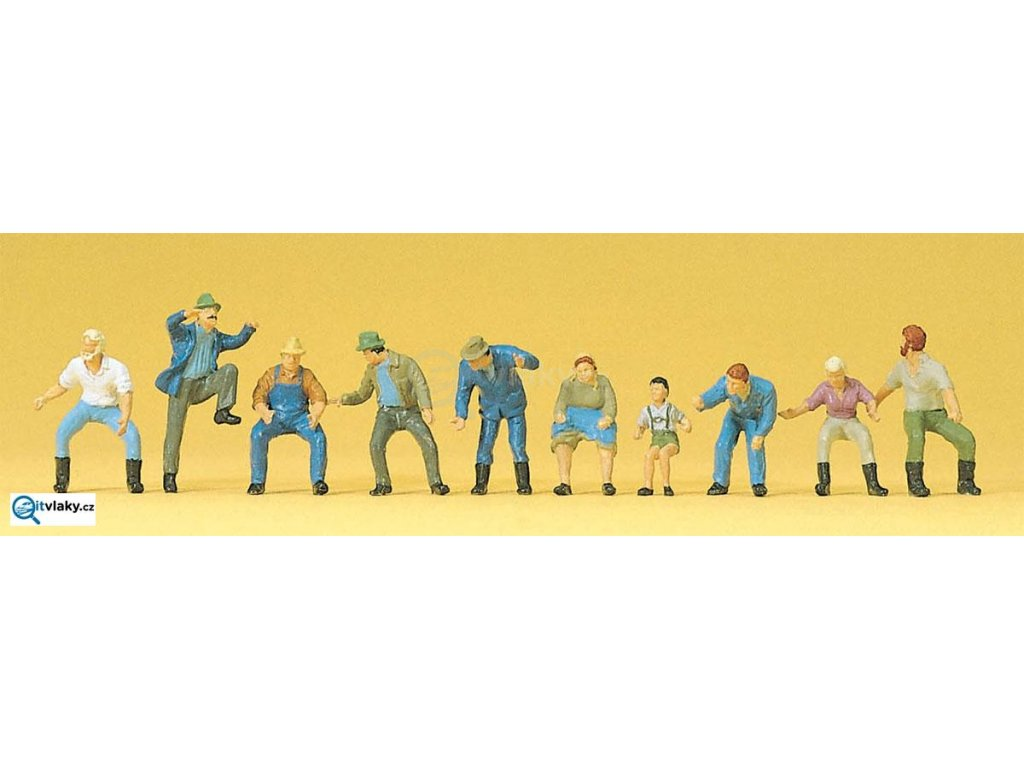 H0 - Traktoristi a pasažéři, 10 figurek / Preiser 10328
