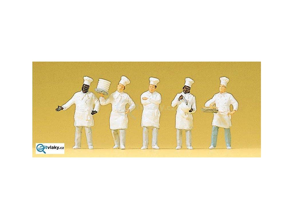 H0 - Kuchaři v bufetu, 5 figurek / Preiser 10330