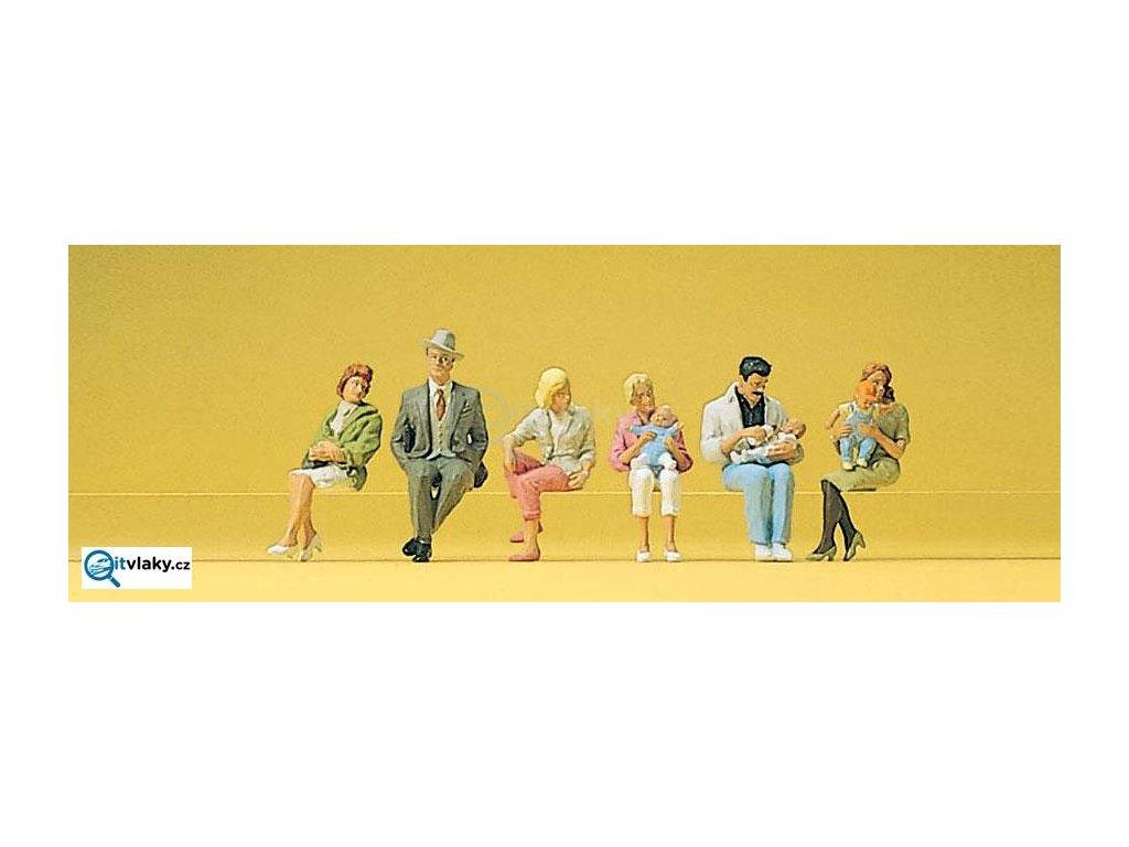 H0 - Sedící osoby, 6 figurek / Preiser 10332