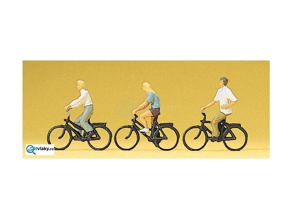 H0 - Cyklisté, 3 figurky / Preiser 10336