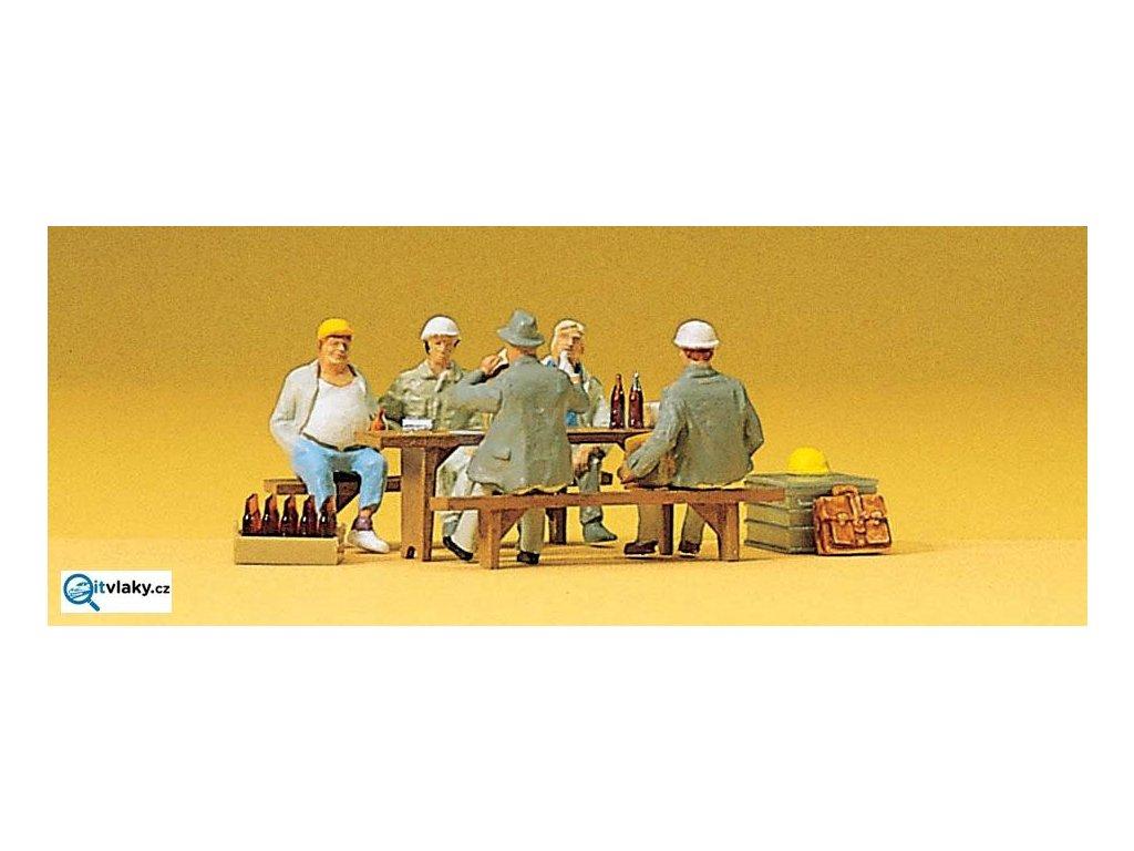 H0 - Stavební dělníci na přestávce, 5 figurek / Preiser 10338