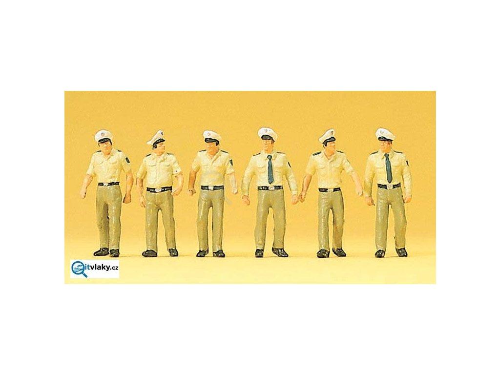 H0 - Policisté v letní uniformě, Německo, 6 figurek / Preiser 10340