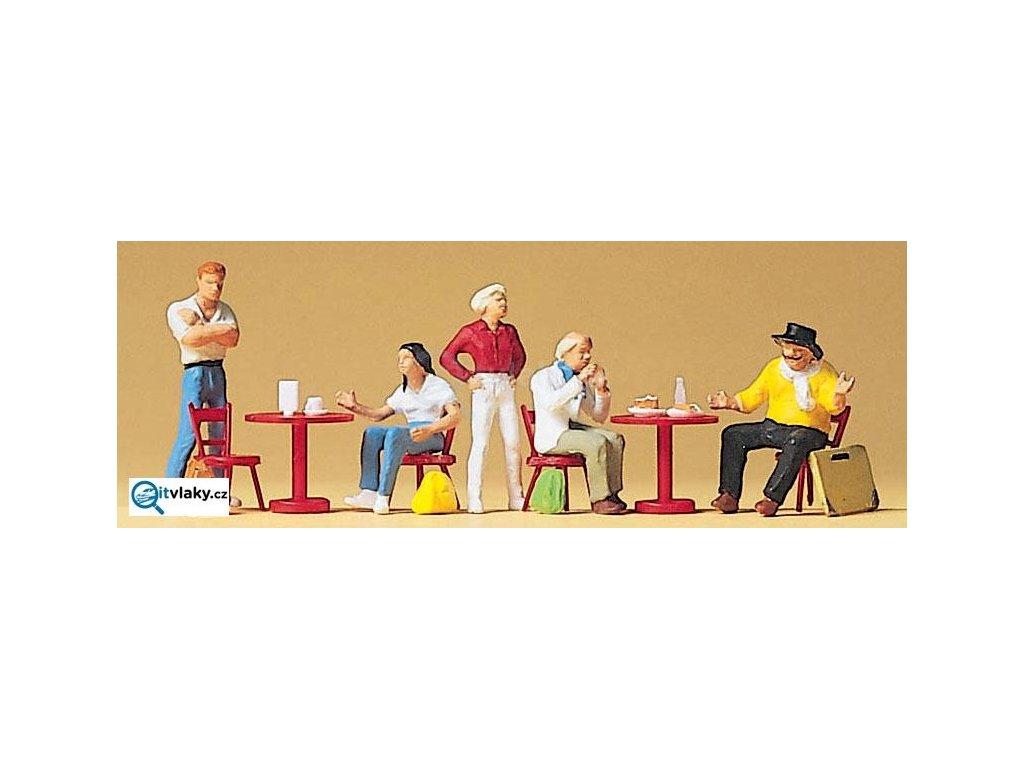 H0 - Studenti s umělci u stolu, 5 figurek / Preiser 10349