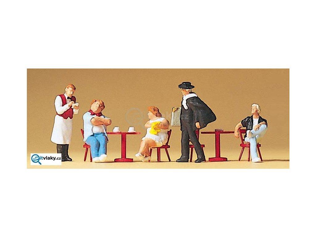 H0 - Turisté u stolu, číšník, malíř, 5 figurek / Preiser 10368