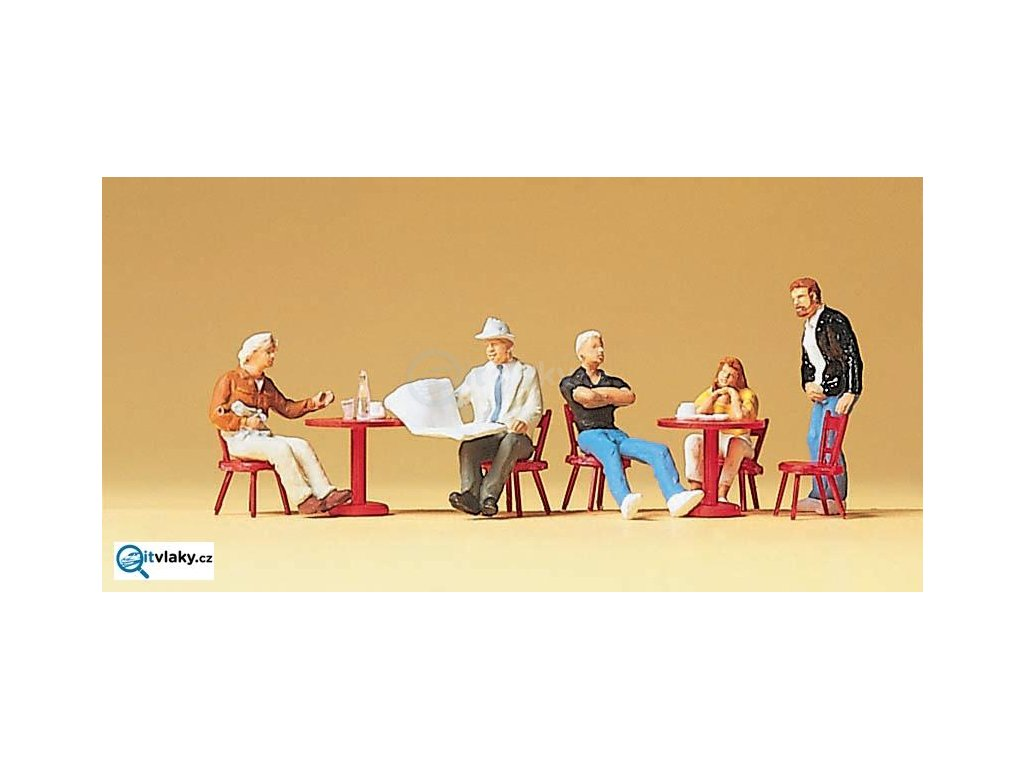H0 - Hosté v kavárně, 5 figurek / Preiser 10369