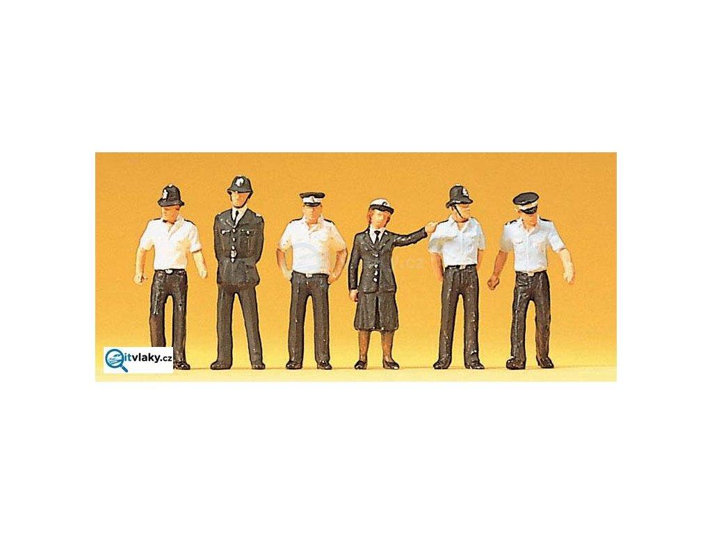 H0 - Policisté z Velké Británie, 6 figurek / Preiser 10371