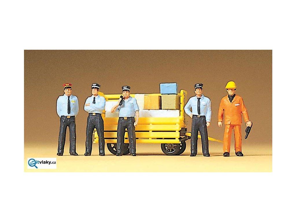 H0 - Železniční personál, 5 figurek a vozík / Preiser 10372