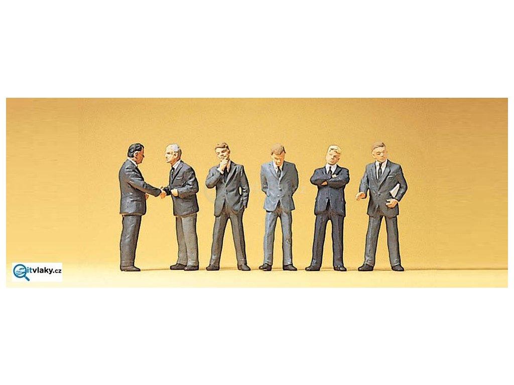 H0 - Obchodní cestující v saku, 6 figurek/ Preiser 10380