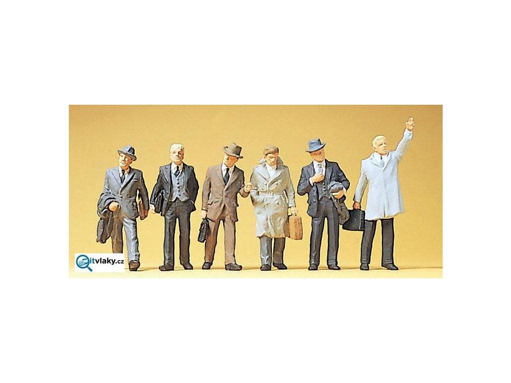 H0 - Obchodní cestující, 6 figurek / Preiser 10381