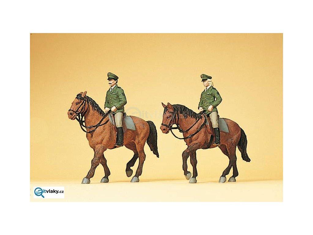 H0 - Policie na koních, Německo, 2 figurky / Preiser 10390
