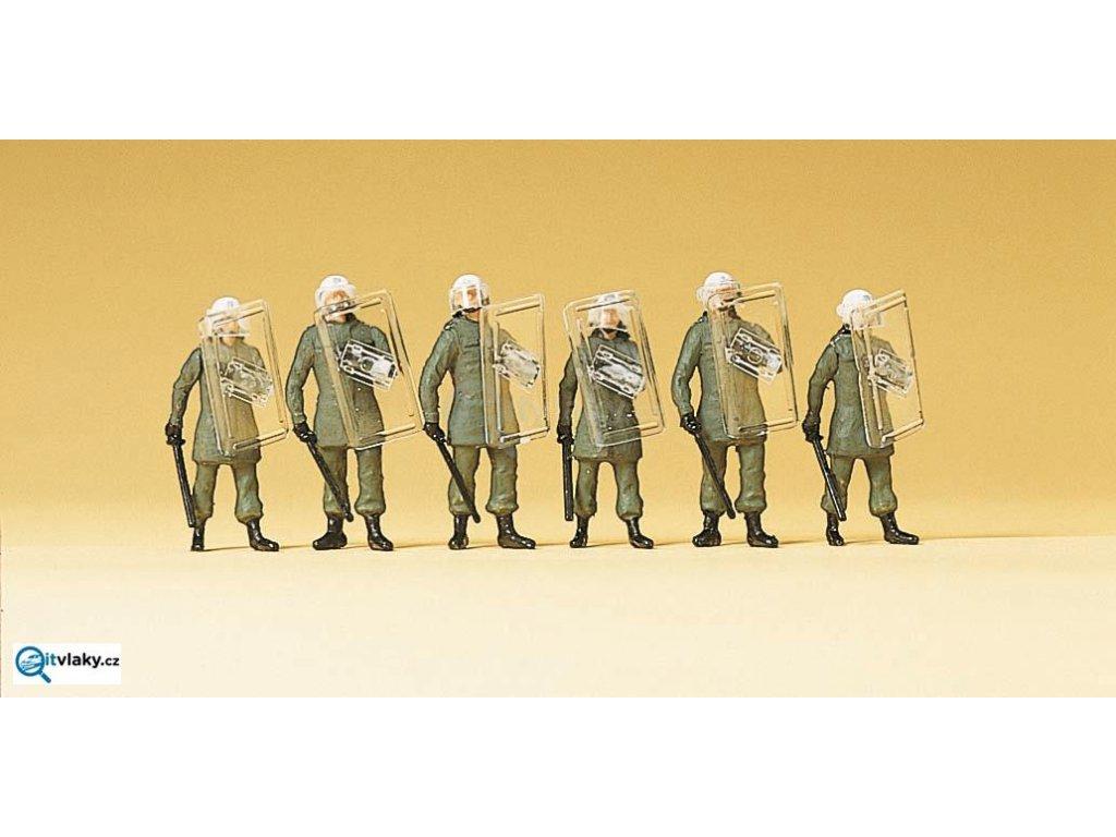 H0 - pořádková Policie, obranná pozice, 6 figurek / Preiser 10393