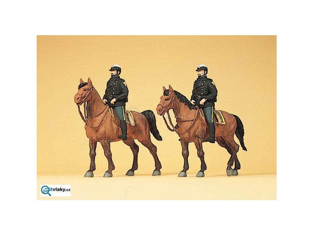 H0 - Policie na koních, USA, 2 figurky / Preiser 10397