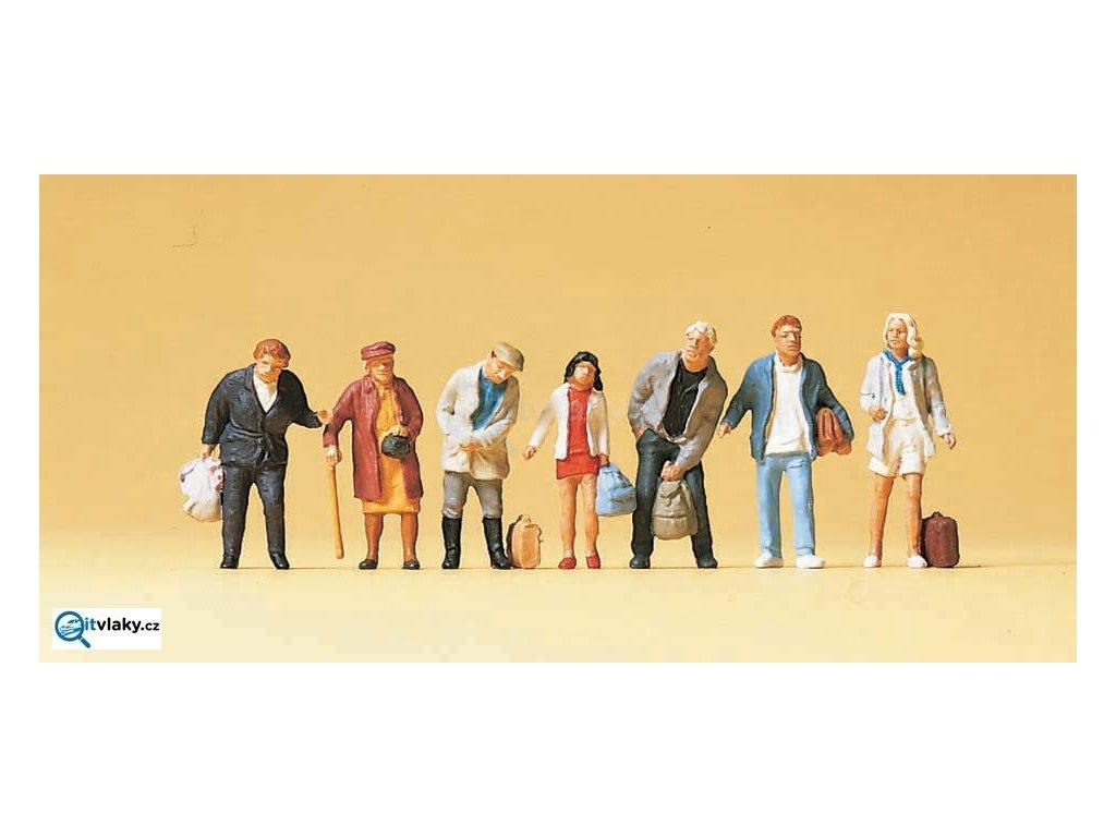 H0 - Čekající cestující na autobus, vlak, 7 figurek / Preiser 10400