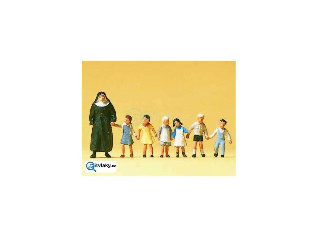 H0 - Jeptiška s dětmi, 7 figurek / Preiser 10401