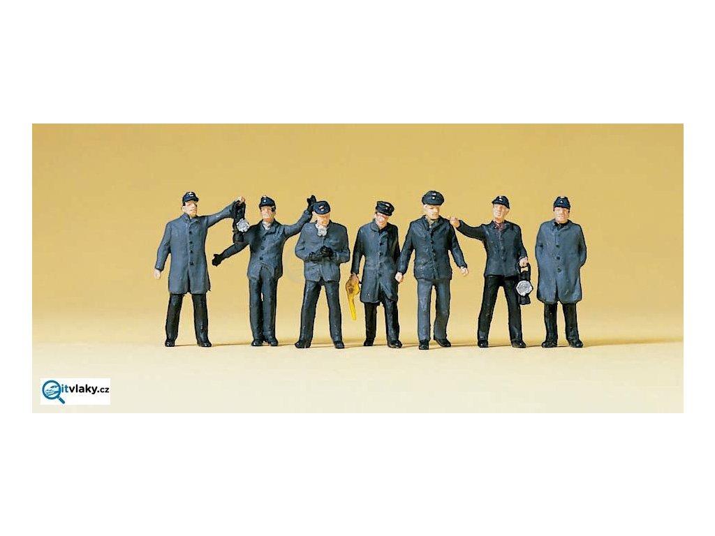 H0 - Železniční personál a posunovači DB, 7 figurek / Preiser 10409