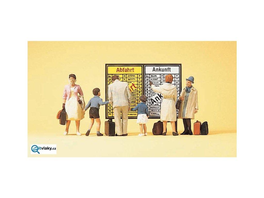 H0 - Cestující před jízdním řádem, 6 figurek / Preiser 10417