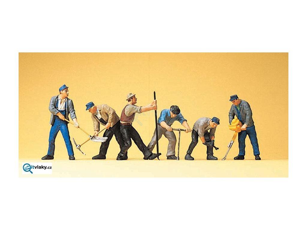 H0 - Dělníci v kolejišti, 6 figurek / Preiser 10418