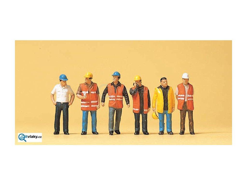 H0 - Pracovníci na stavbě v helmách, 6 figurek / Preiser 10420