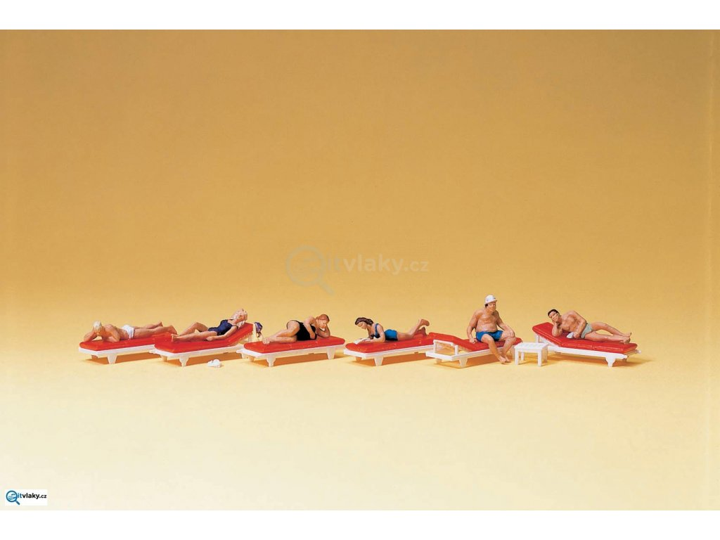 H0 - Opalující se lidé na lehátkách, 6 figurek / Preiser 10429