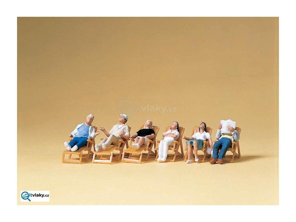 H0 - Na terase ležící na lehátkách, 6 figurek / Preiser 10430