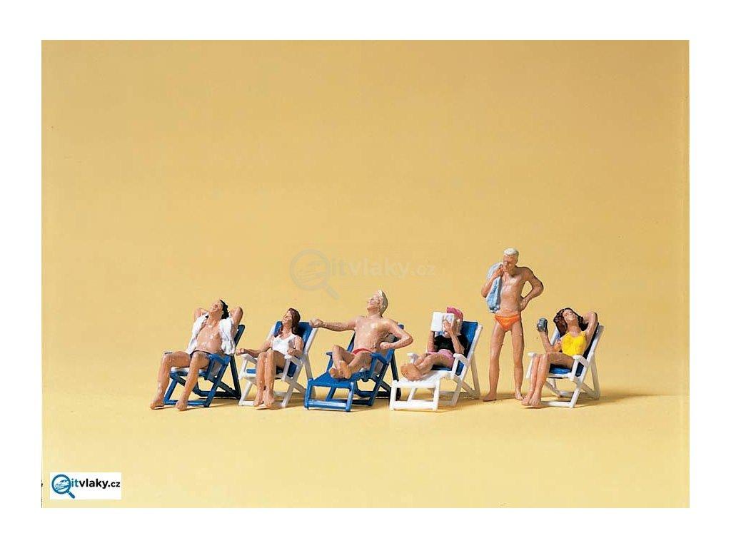 H0 - Ležící na lehátkách v zahradě, 6 figurek / Preiser 10431