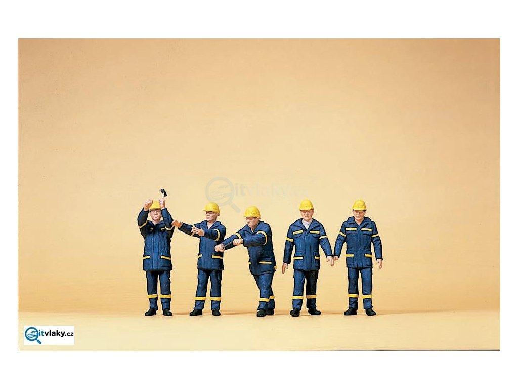 H0 - Pracovníci v helmách, 5 figurek / Preiser 10432