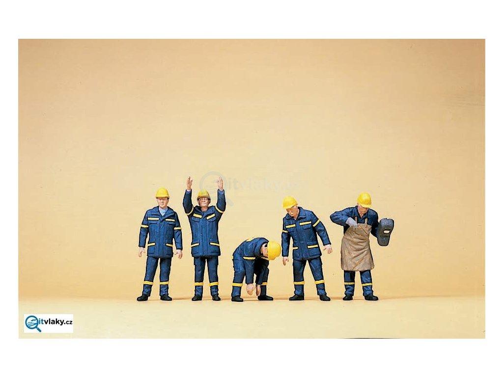 H0 - Svařování a pomocníci, 5 figurek / Preiser 10433