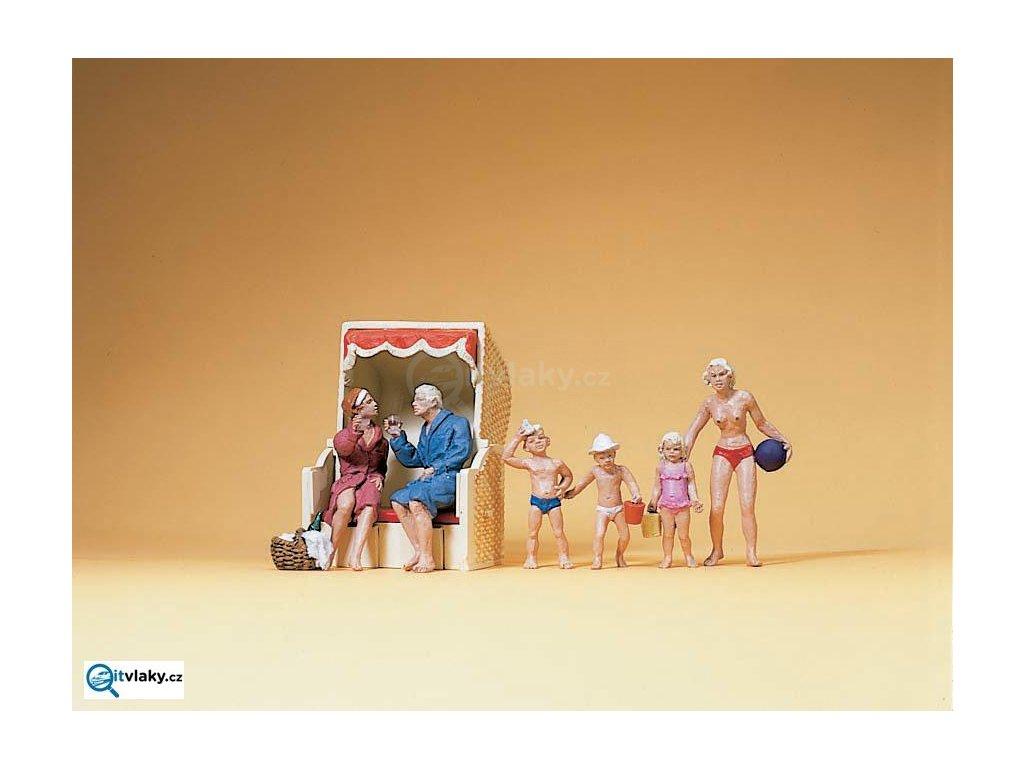 H0 - Sedící pár + děti na pláži, 6 figurek / Preiser 10438
