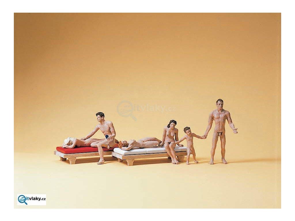 H0 - Páry na nudistické pláži, 6 figurek FKK / Preiser 10439