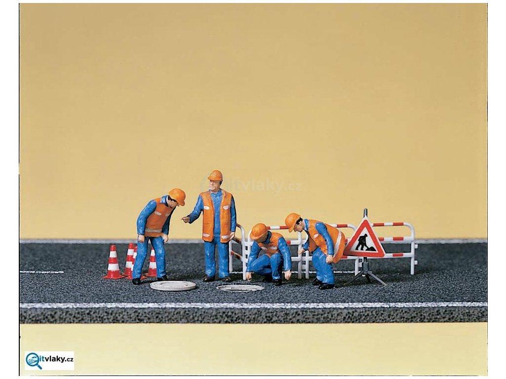 H0 - Dělníci, údržba kanálů, 4 figurky / Preiser 10445