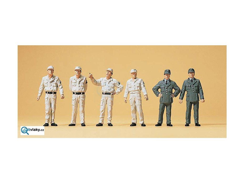 H0 - Pracovníci technické služby THW, r.1950, 6 figurek / Preiser 10457