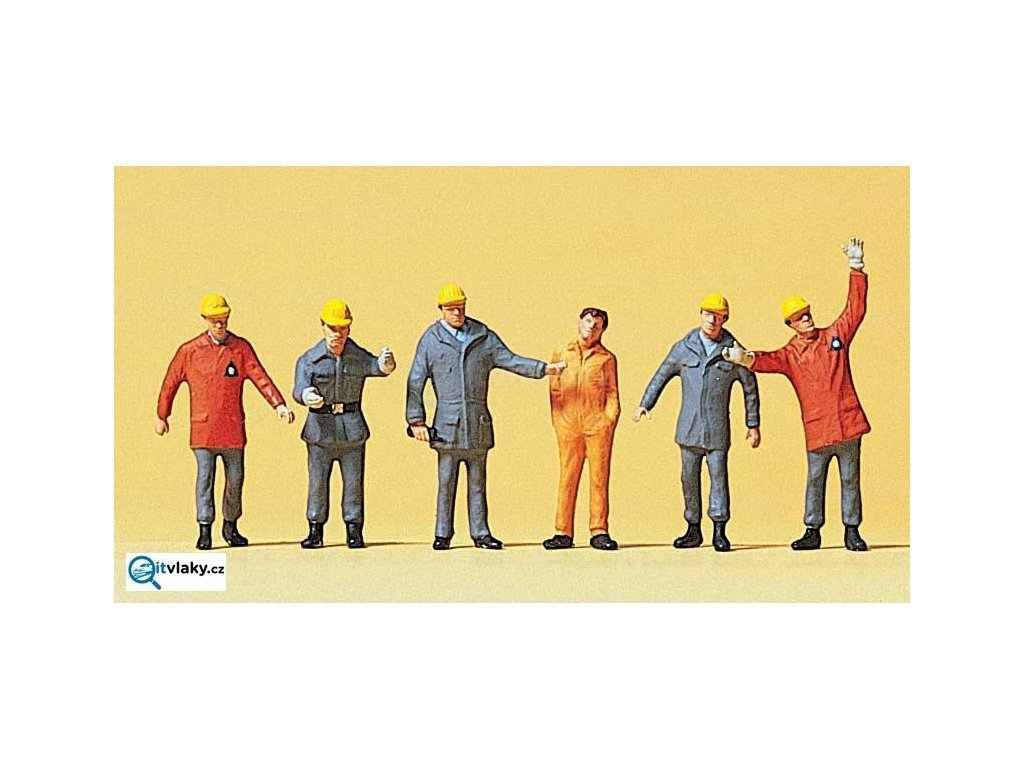H0 - Pracovníci technické služby THW, r.1990, 6 figurek / Preiser 10458