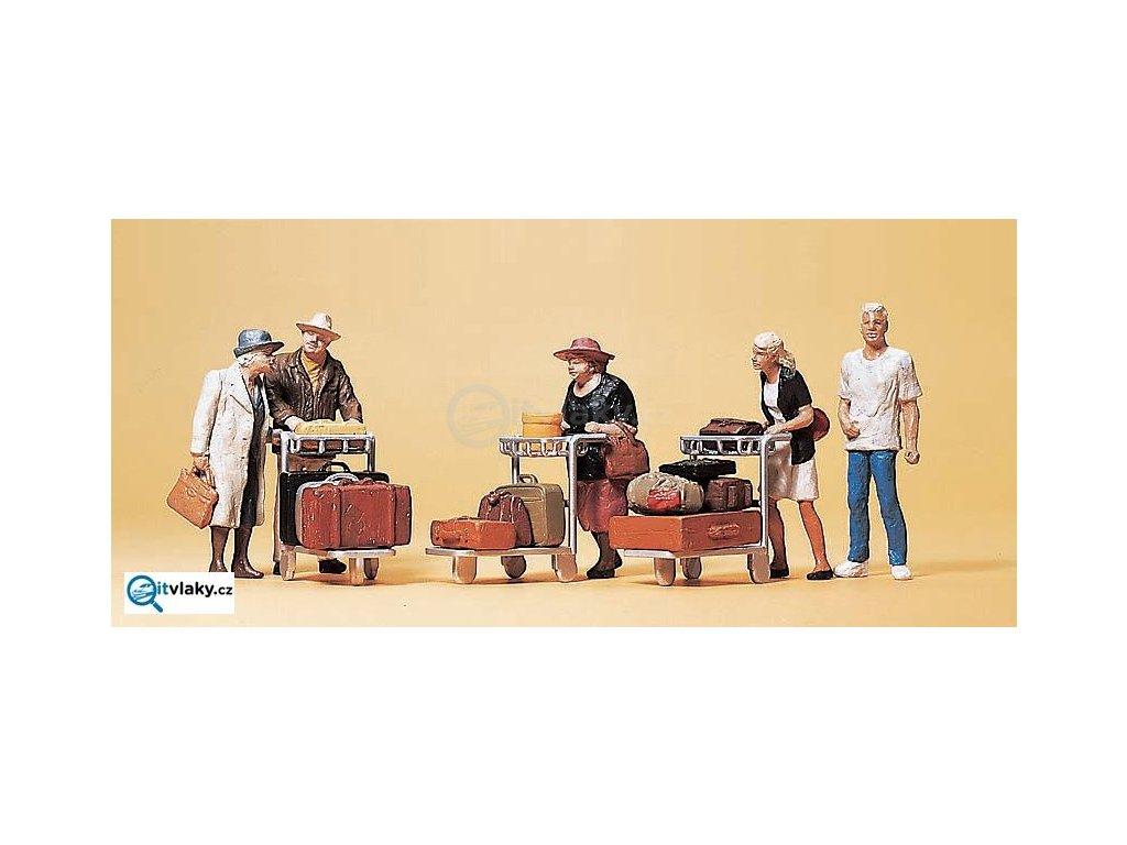 H0 - Cestující s těžkými zavazadly, 5 figurek / Preiser 10459