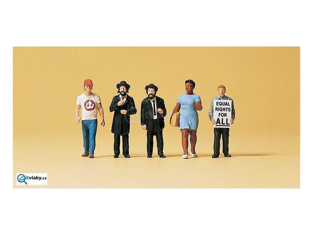 H0 - Američani, Pouliční scény I, 5 figurek / Preiser 10462