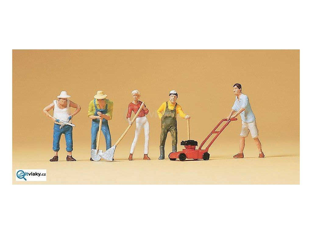 H0 - Zahradní práce, 5 figurek / Preiser 10463