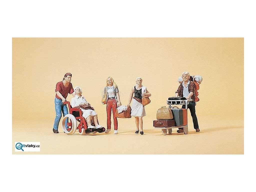 H0 - Cestovatelé, 5 figurek / Preiser 10470