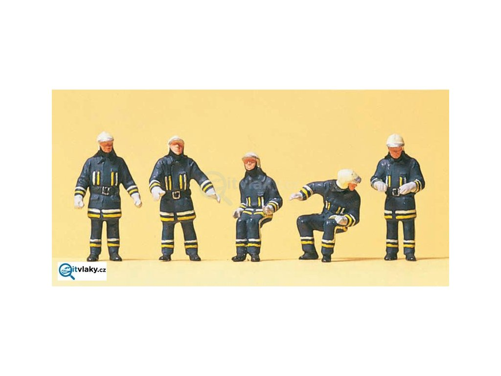 H0 - Moderní hasiči, 5 figurek / Preiser 10487