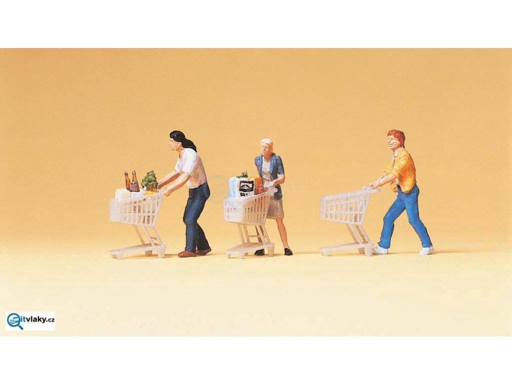 H0 - Zákazníci s nákupními košíky, 6 figurek / Preiser 10488
