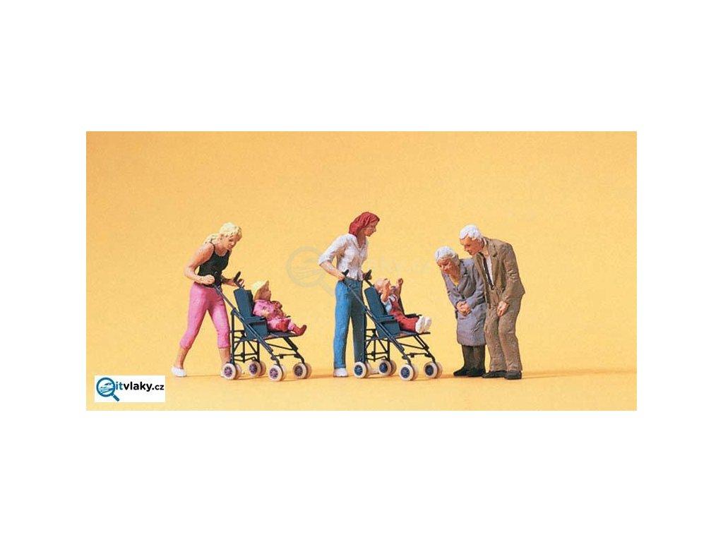 H0 - Matky s kočárky a dětmi, 4 figurky + kočárky / Preiser 10493