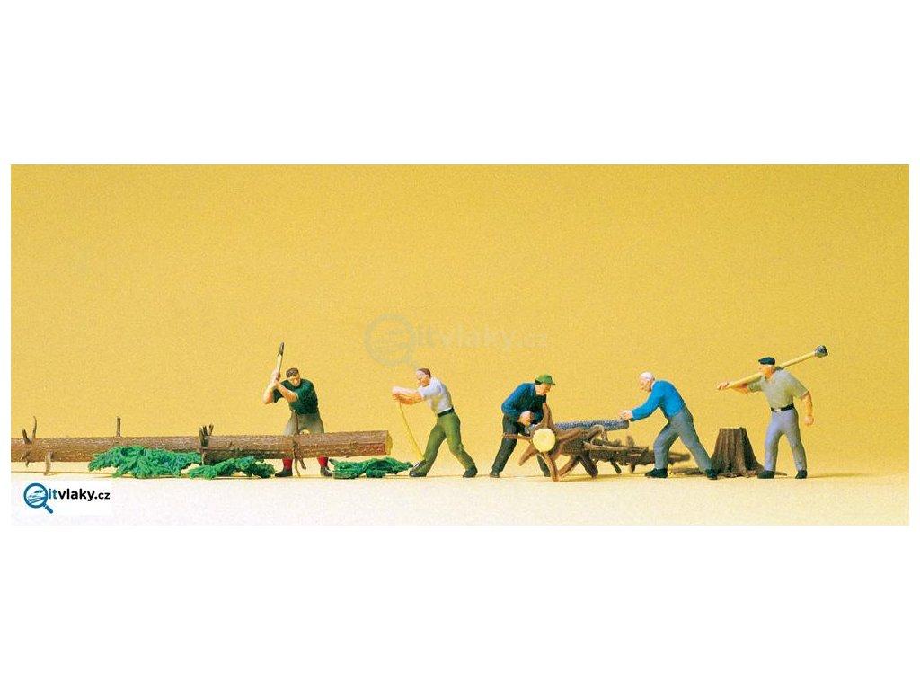 H0 - Dřevorubci s kmeny, 5 figurek / Preiser 10495