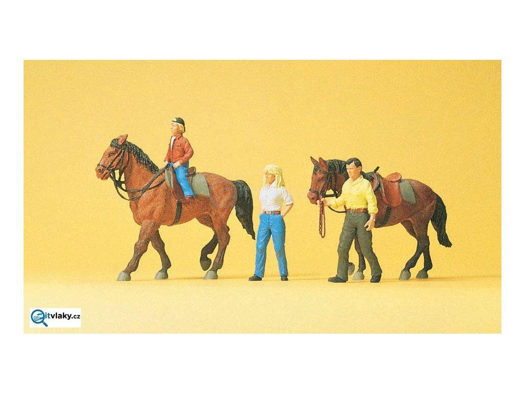 H0 - Koně s jezdci, 3 figurky a 2 koně / Preiser 10500