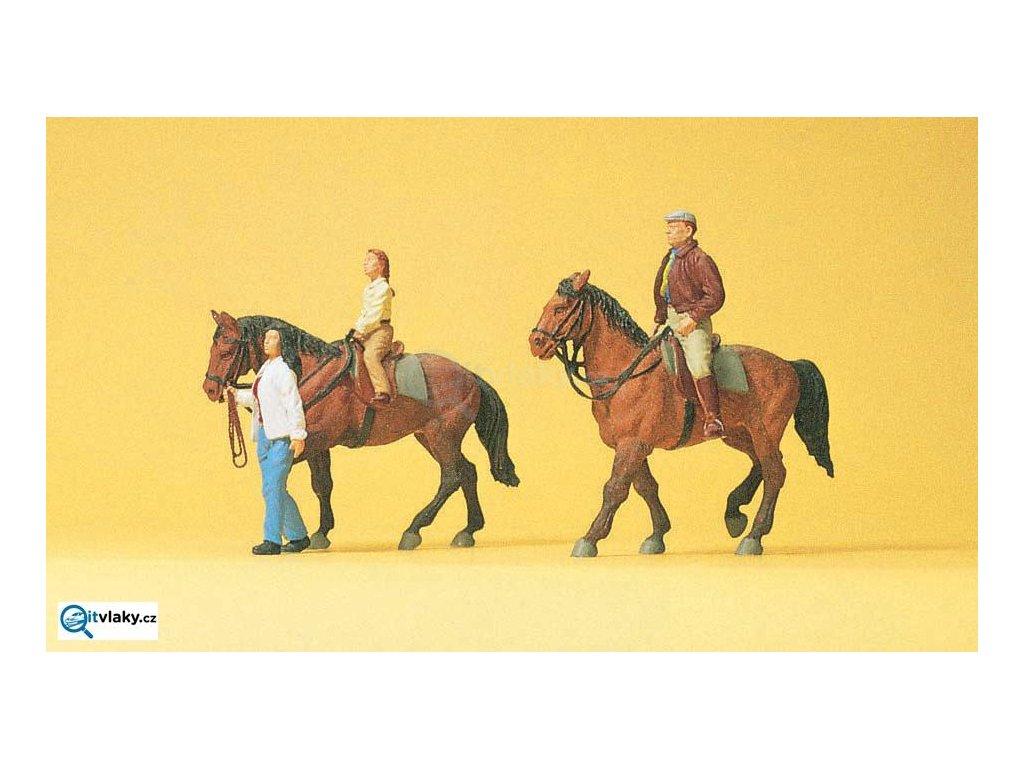 H0 - Koně s jezdci, 3 figurky a 2 koně / Preiser 10501